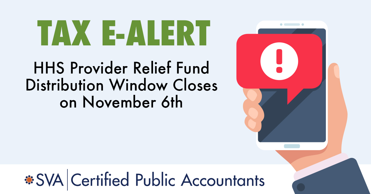 HHS Provider Relief Fund Distribution Window Closes on November 6th